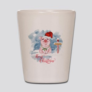 Merry Christmas Pig North Pole Shot Glass