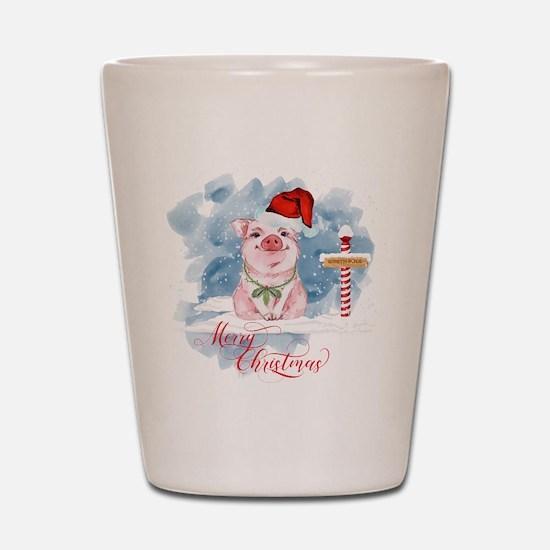 Merry Christmas Pig North Pole Shot Glass