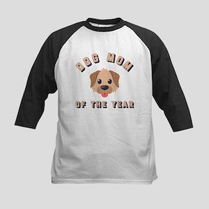 Emoji Dog Mom Kids Baseball Tee