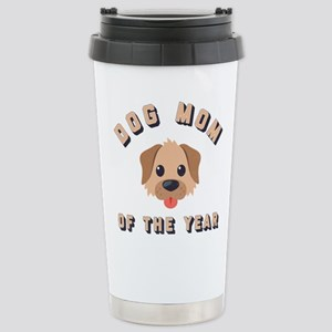 Emoji Dog Mom 16 oz Stainless Steel Travel Mug