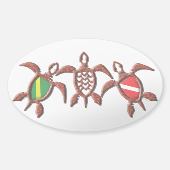 Dive Turtle Band Sticker (Oval)