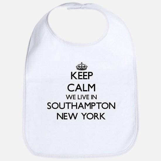 Keep calm we live in Southampton New York Bib