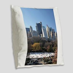 New York City Xmas Pro Photo Burlap Throw Pillow