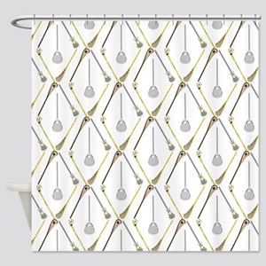 Five Lacrosse Sticks Shower Curtain