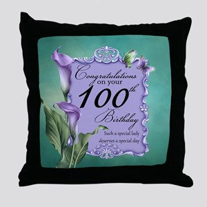 100th Birthday Purple Lily Design Throw Pillow