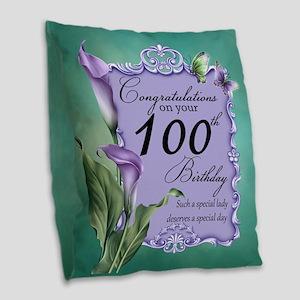 100th Birthday Purple Lily Burlap Throw Pillow