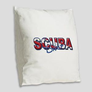 SCUBA Diver Burlap Throw Pillow