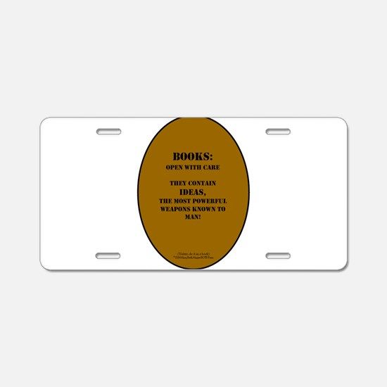 Books: Open with Care Aluminum License Plate