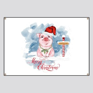 Merry Christmas Pig North Pole Banner