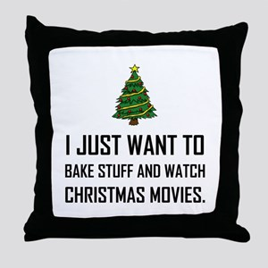 Bake Stuff Watch Christmas Movies Throw Pillow