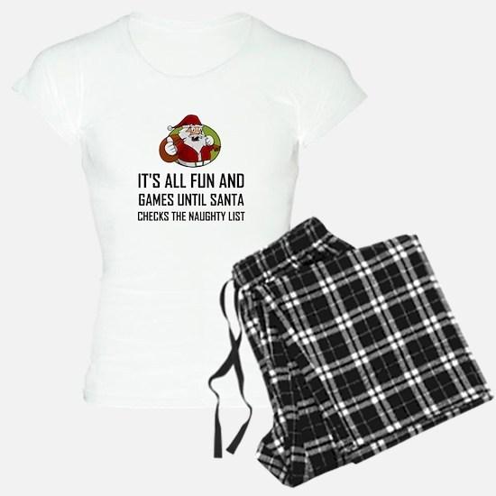 Santa Checks Naughty List Pajamas