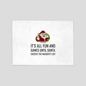 Santa Checks Naughty List 5'x7'Area Rug