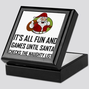 Santa Checks Naughty List Keepsake Box