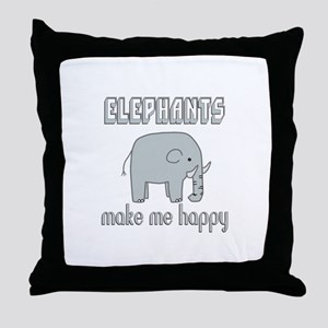 Elephants Make Me Happy Throw Pillow