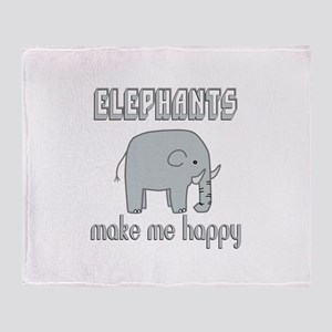 Elephants Make Me Happy Throw Blanket