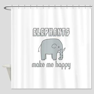 Elephants Make Me Happy Shower Curtain