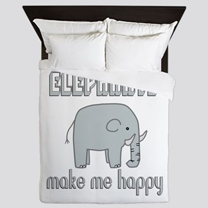 Elephants Make Me Happy Queen Duvet