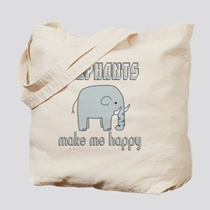 Elephants Make Me Happy Tote Bag