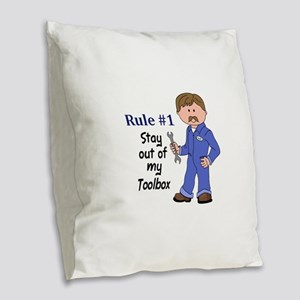 STAY OUT OF MY TOOLBOX Burlap Throw Pillow