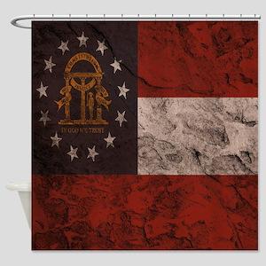 Cave Wall Georgia Flag Shower Curtain