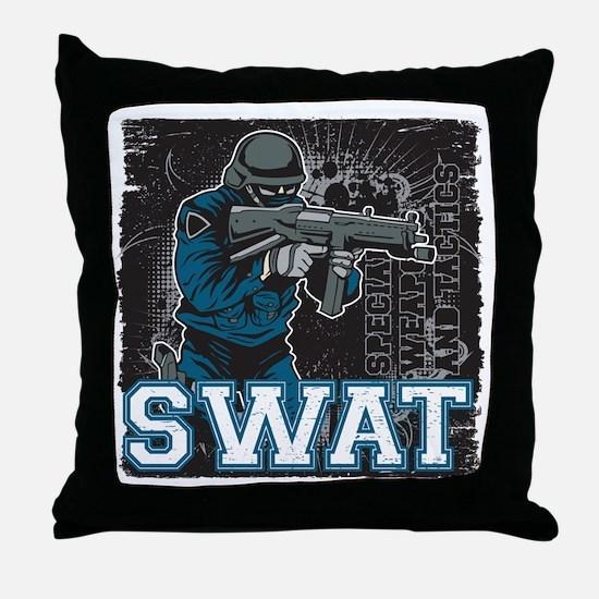 Police SWAT Team Member Throw Pillow