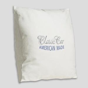 Classic Car American Made Burlap Throw Pillow