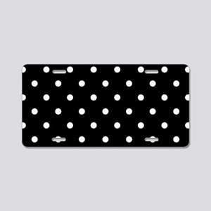 BLACK AND WHITE Polka Dots Aluminum License Plate