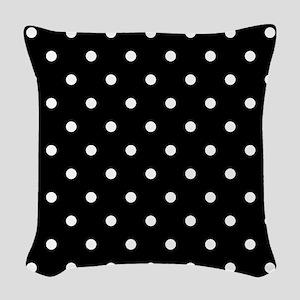 BLACK AND WHITE Polka Dots Woven Throw Pillow