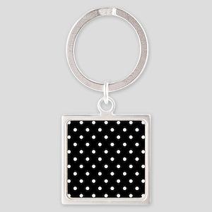 BLACK AND WHITE Polka Dots Keychains