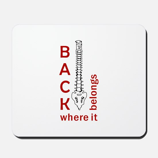 BACK WHERE IT BELONGS Mousepad