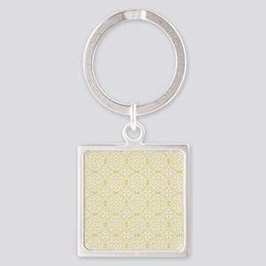 Custard Yellow & White Lace 2 Square Keychain