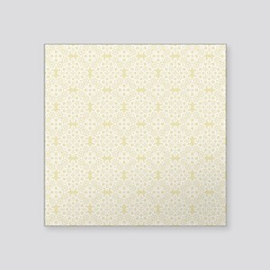 "Custard Yellow & White Lace Square Sticker 3"" x 3"""