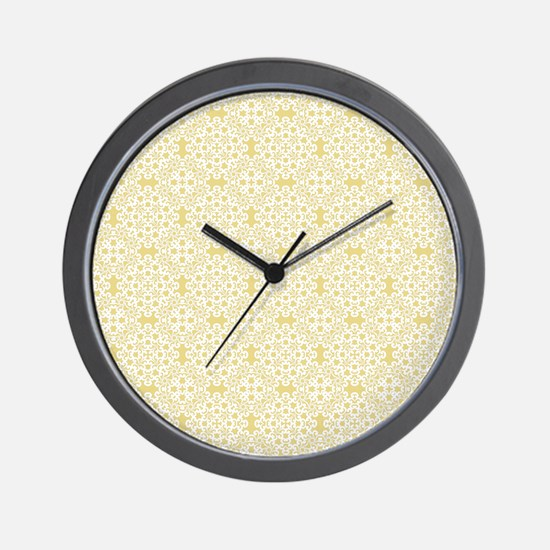 Custard Yellow & White Lace 2 Wall Clock
