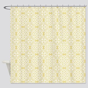 Custard Yellow & White Lace 2 Shower Curtain