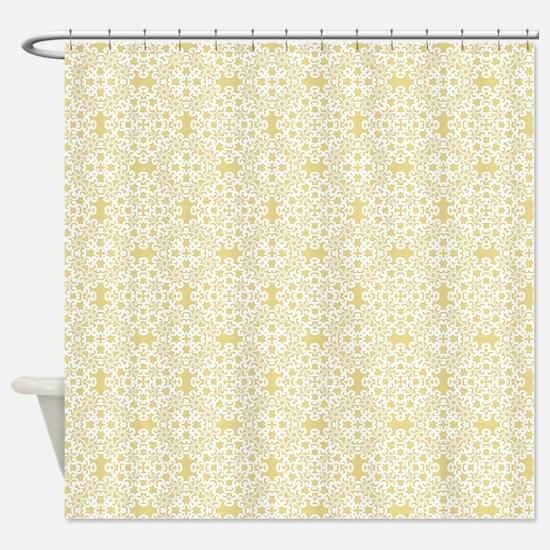 Custard Yellow & White Lace 2 Shower Curtain