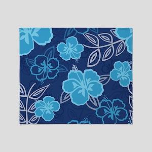 Hawaiian Hibiscus Pattern Blue Throw Blanket