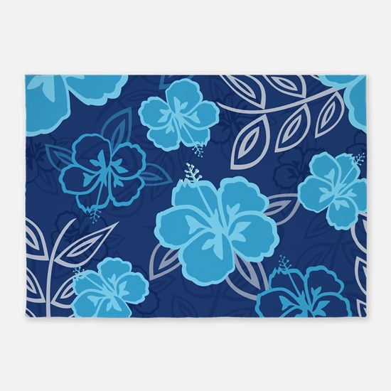 Hawaiian Hibiscus Pattern Blue 5'x7'Area Rug