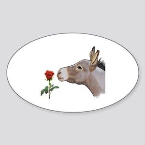 Mini donkey smelling a long stem re Sticker (Oval)