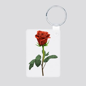 long stem red rose for val Aluminum Photo Keychain