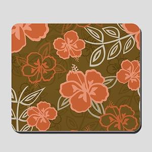 Hawaiian Hibiscus Pattern Peach and Brow Mousepad