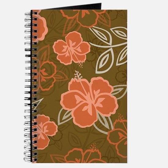 Hawaiian Hibiscus Pattern Peach and Brown Journal