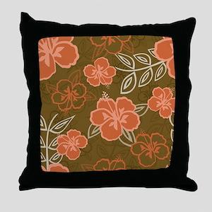 Hawaiian Hibiscus Pattern Peach and B Throw Pillow