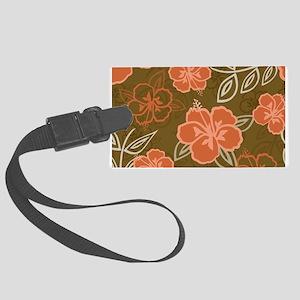 Hawaiian Hibiscus Pattern Peach Large Luggage Tag