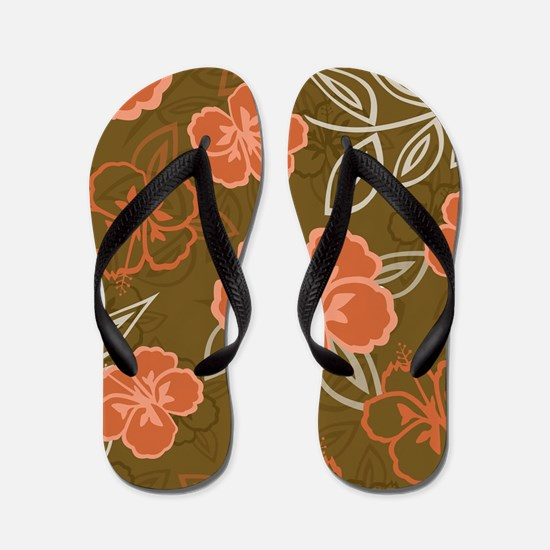 Hawaiian Hibiscus Pattern Peach and Bro Flip Flops