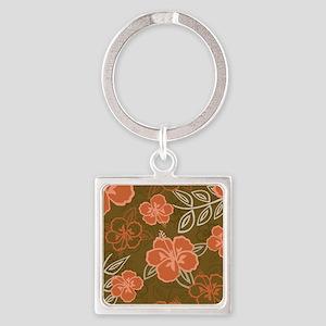 Hawaiian Hibiscus Pattern Peach an Square Keychain