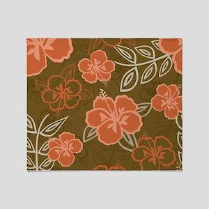 Hawaiian Hibiscus Pattern Peach and Throw Blanket