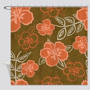 Hawaiian Hibiscus Pattern Peach And Shower Curtain
