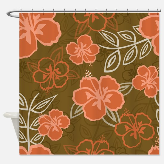 Hawaiian Hibiscus Pattern Peach and Shower Curtain
