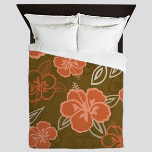 Hawaiian Hibiscus Pattern Peach and Br Queen Duvet