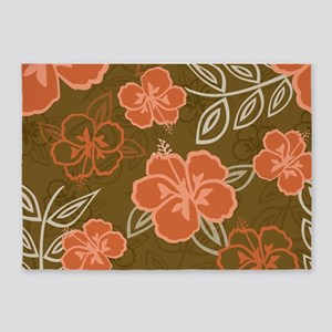 Hawaiian Hibiscus Pattern Peach and 5'x7'Area Rug